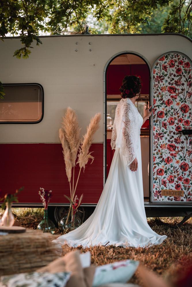 mariée vintage caravane