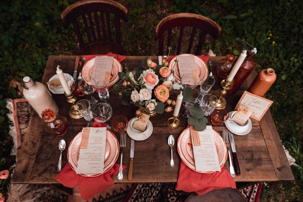 table de mariage, couleur nude, automnale, papeterie naturel