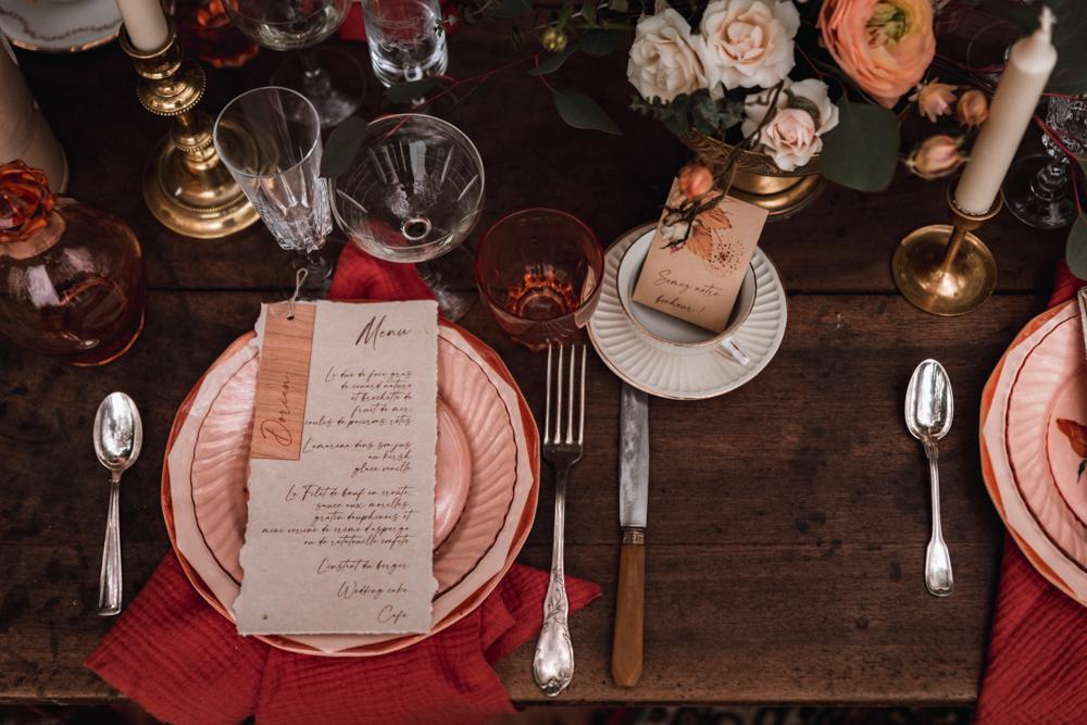 menu et cadeaux d'invité, sachet de graine