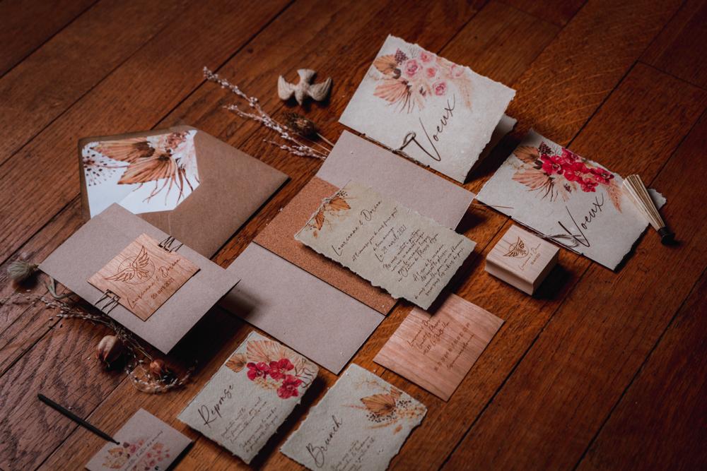 papeterie de mariage, papier naturel, bois