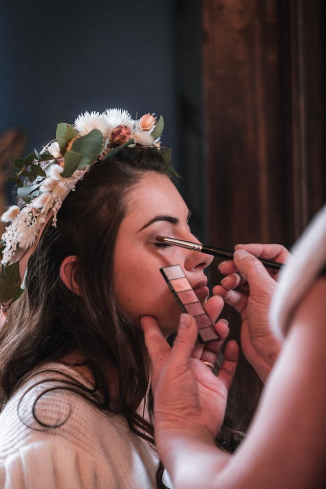 préparatifs de la mariée, maquillage
