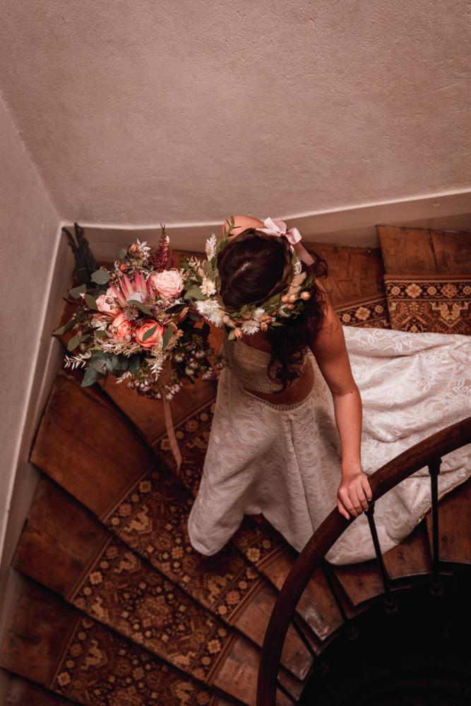 descente mariée escalier